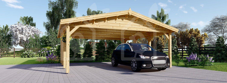 Carport Clasic en bois, Double 600x600 36m² Ports de