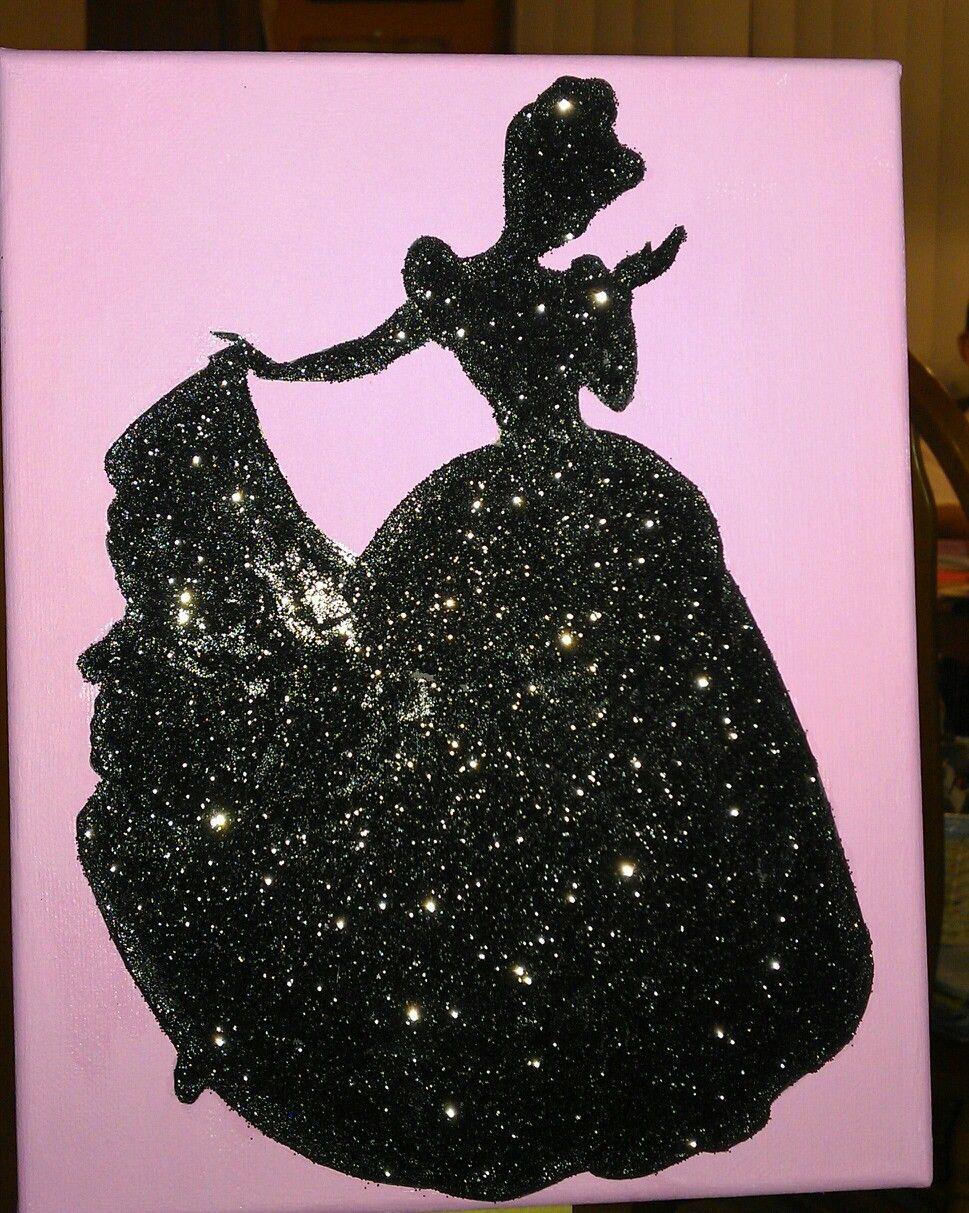 Glitter Silhouette Cinderella Princess Disney Princess Silhouette Disney Crafts Disney Paintings