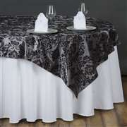 90 Overlay Flocking Silver Black Table Overlays Wedding