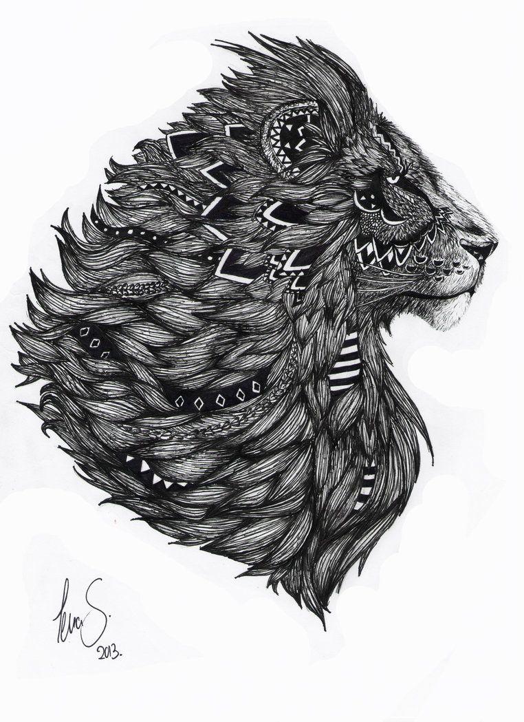 Lion Drawing by dotz-ART | Tattoos | Pinterest | Lion ...