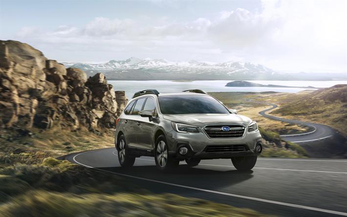 Download Wallpapers Subaru Outback 2018 Cars Crossovers Road Subaru Besthqwallpapers Com Subaru Outback Subaru Autos