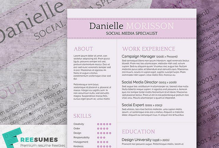 Purple Themed Resume Template Freebie Light Lavender Freesumes Resume Template Professional Resume Template Free Professional Resume Template