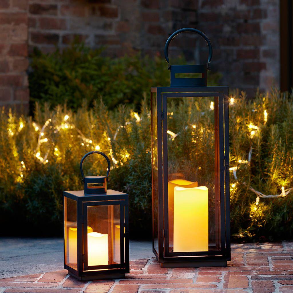 Malvern Outdoor Battery Candle Lantern Set Outdoor Candle Lanterns Outdoor Candles Outdoor Lanterns