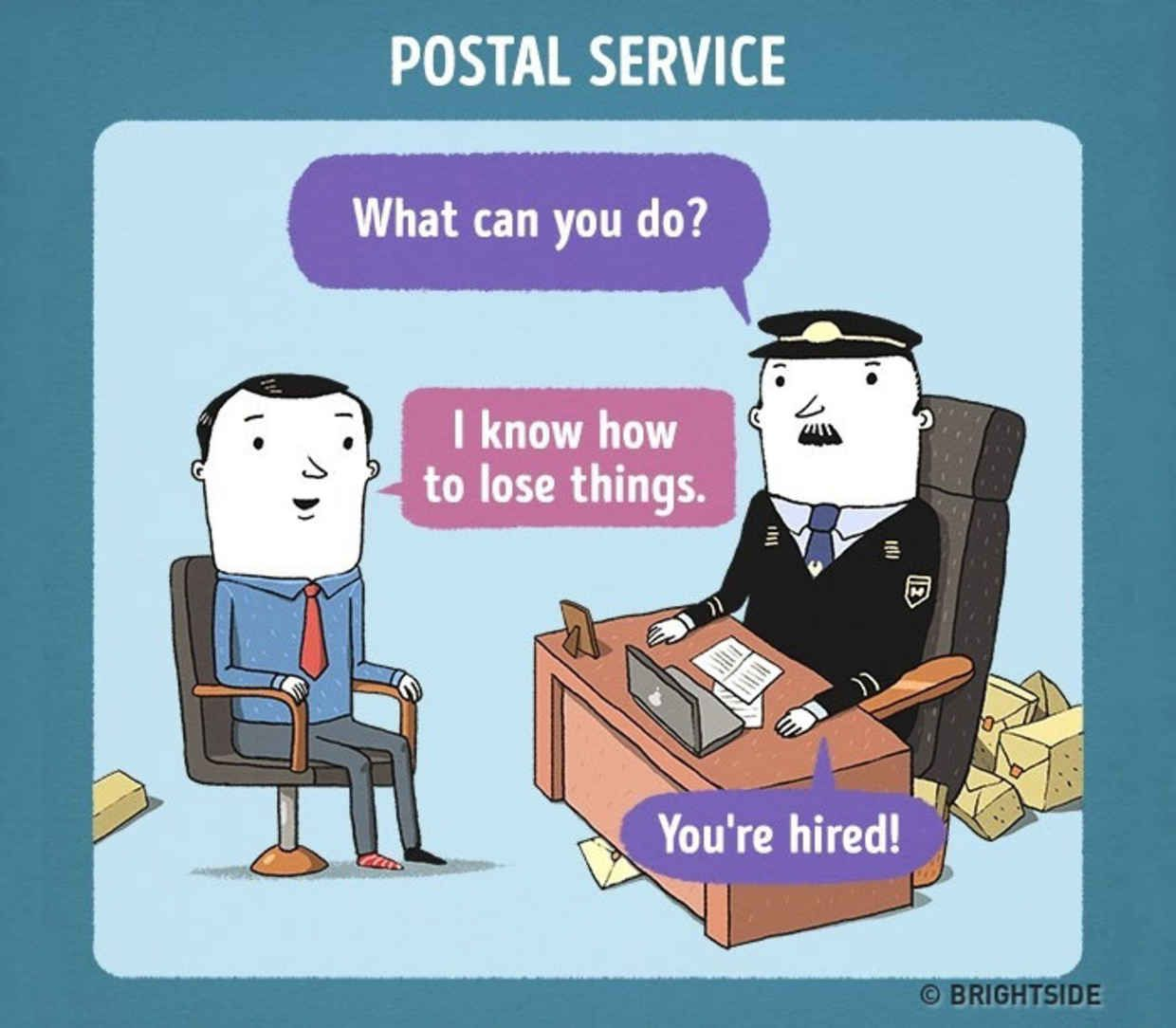 Funny Illustrations Show How Job Interviews Would Go At Famous Companies Work Quotes Funny Job Hunting Humor Funny Illustration