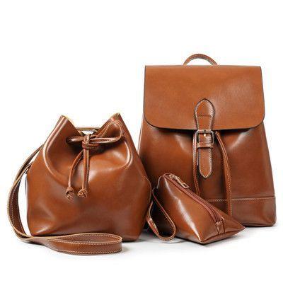 1ed02bdf9e 3Pcs Set Drawstring Bag Women Backpack Pu Leather Backpack Women Shoulder  Bags Purse Vintage School Backpacks