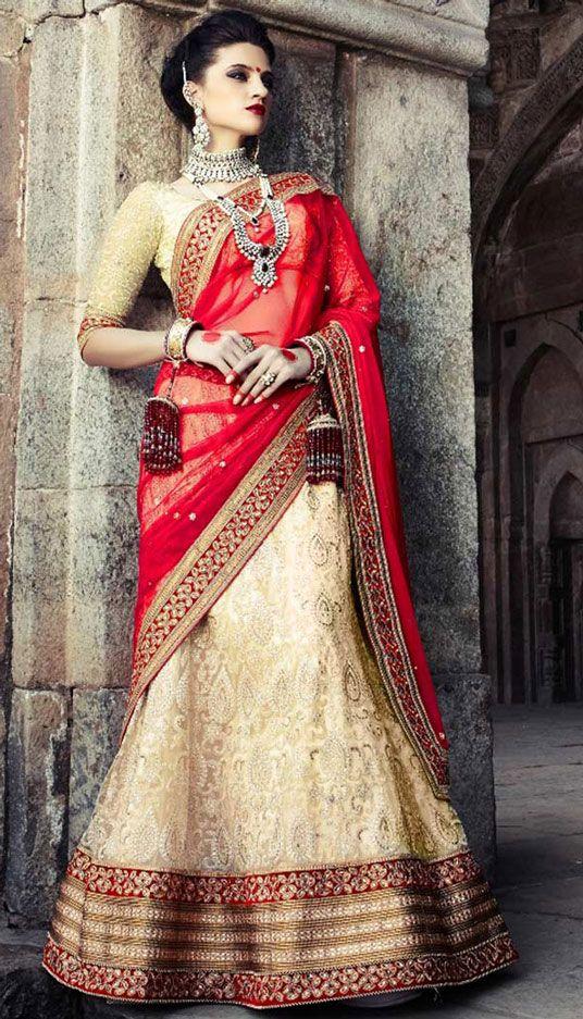 a5765e2bf4 USD 163.01 Off White Net Wedding Lehenga Choli 44120 | Desiness ...