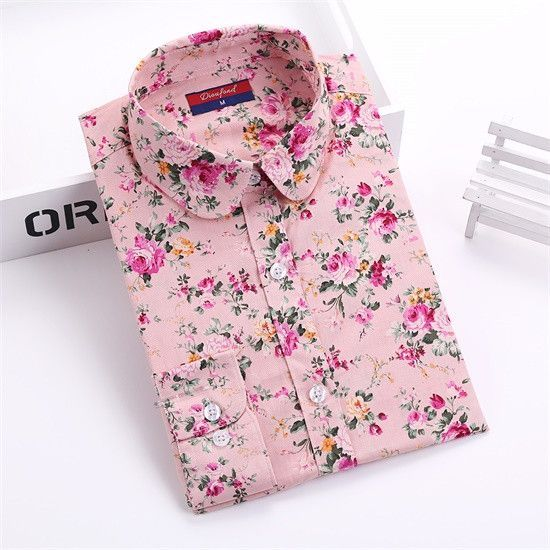 2eba0323b2aaa New Floral Women Blouses Shirts Casual Cherry Blouses Long Sleeve Ladies  Tops Fashion Blusas Clothing For Womens Plus Size 5XL