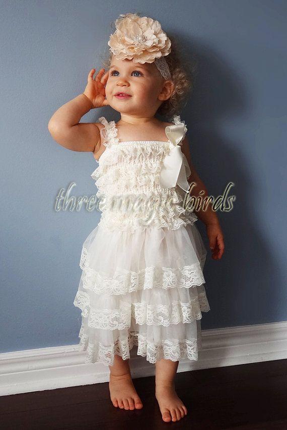 Baby Girl IVORY Lace Christening Wedding Baptism Dress