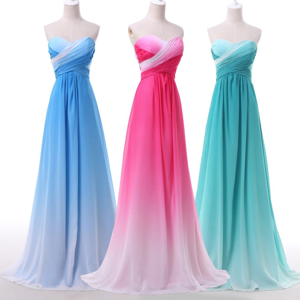 Stunning Gradient Evening Formal Ball Gown Party Prom Dresses ...