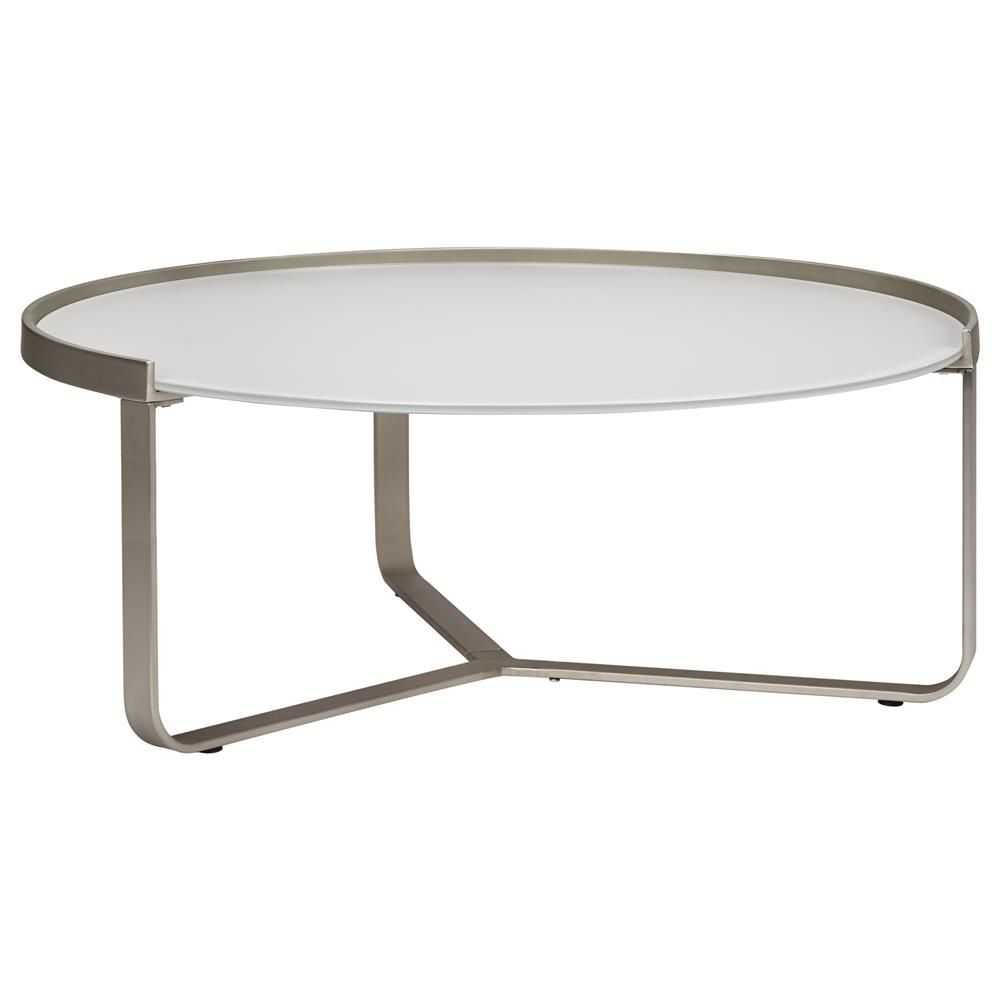 atelier - moderna - round frosted glass-top coffee table with