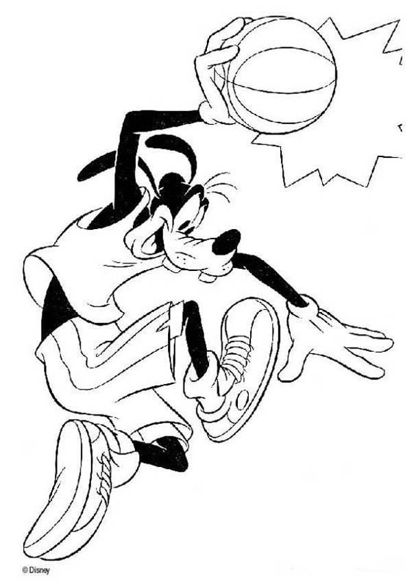 Dingo coloring book pages - Dingo playing basketball | Goofy\'s ...