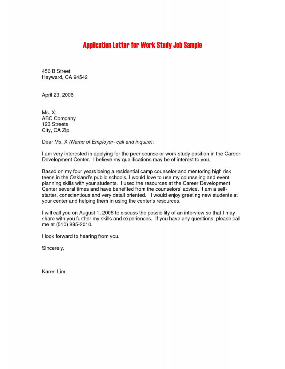 21 job application letter format