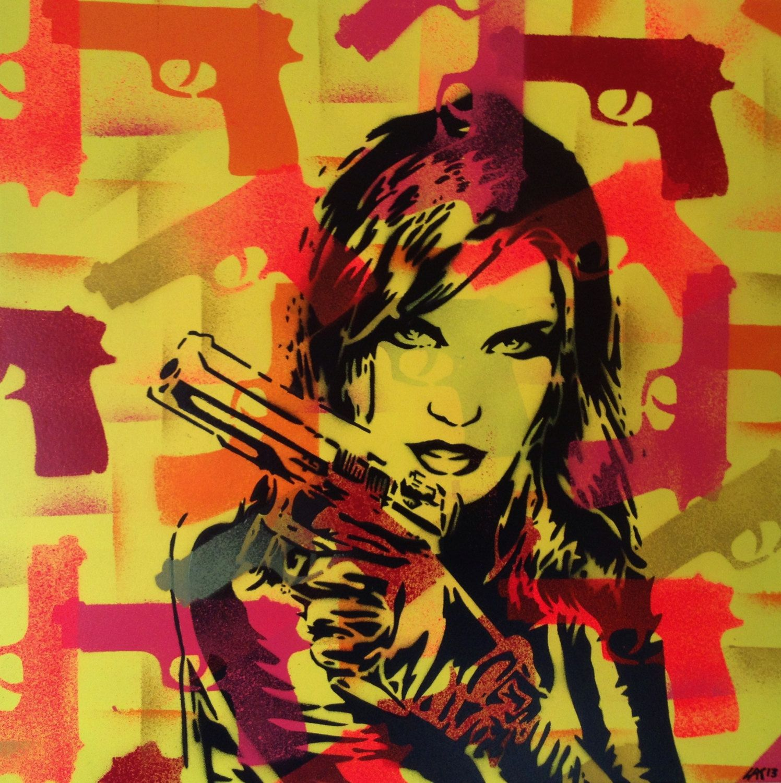 3 Digital Pop Art Painting Woman With Gun Canvas
