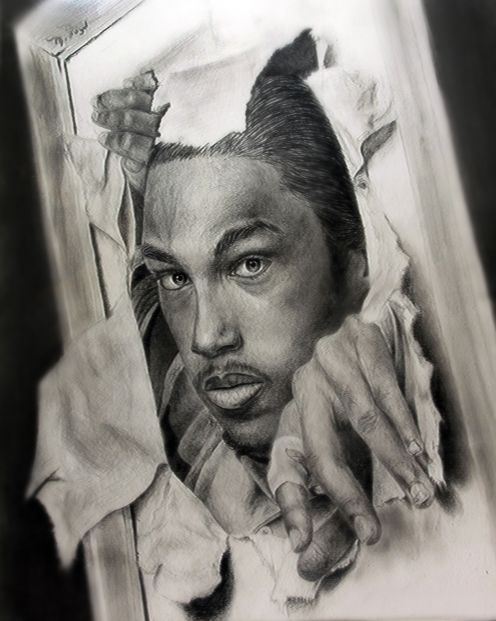 Art charcoal drawing people photo realism black white