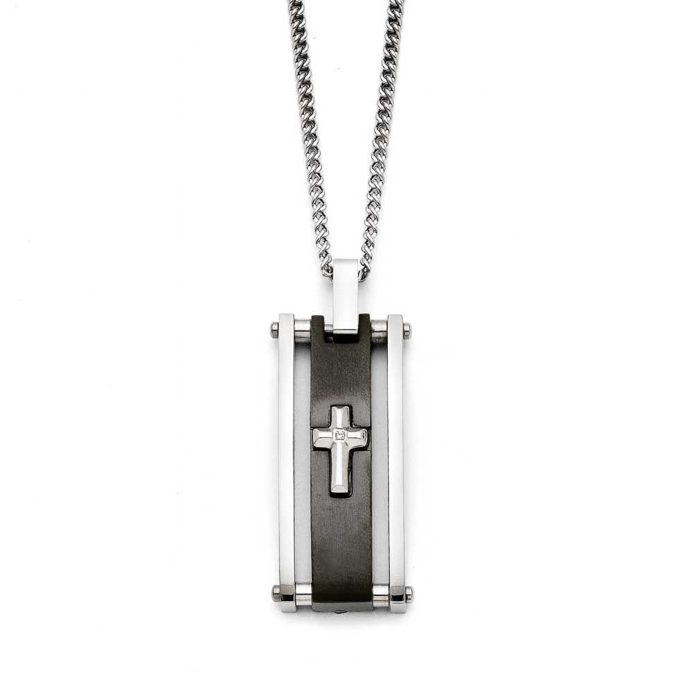 Chisel Cross Black IP-plated Polished Necklace, Men's