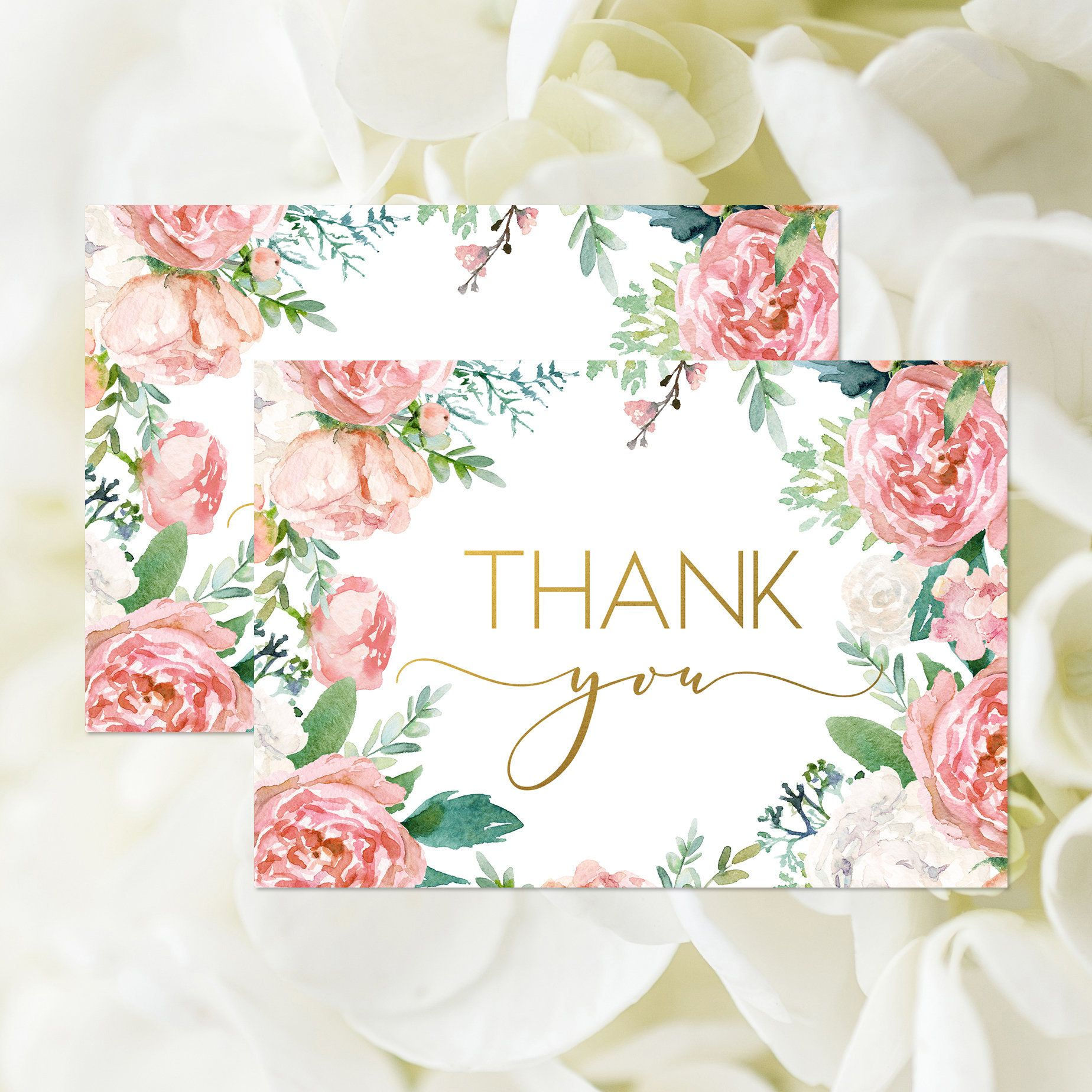 Bohemian Thank You Card, Printable, Blush Pink Floral