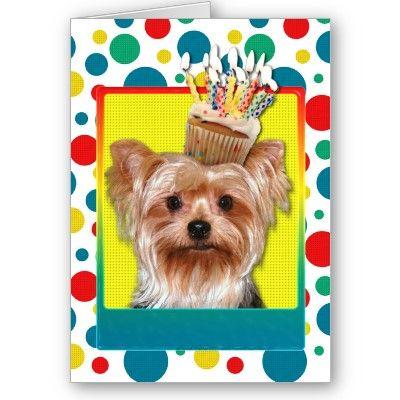 Birthday Cupcake Yorkshire Terrier Card My Life Dear Dinho