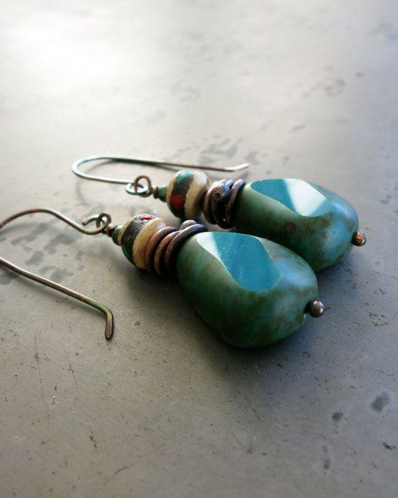 Turquoise Glass Boho Earrings Handmade Copper Drop by Seaphemera