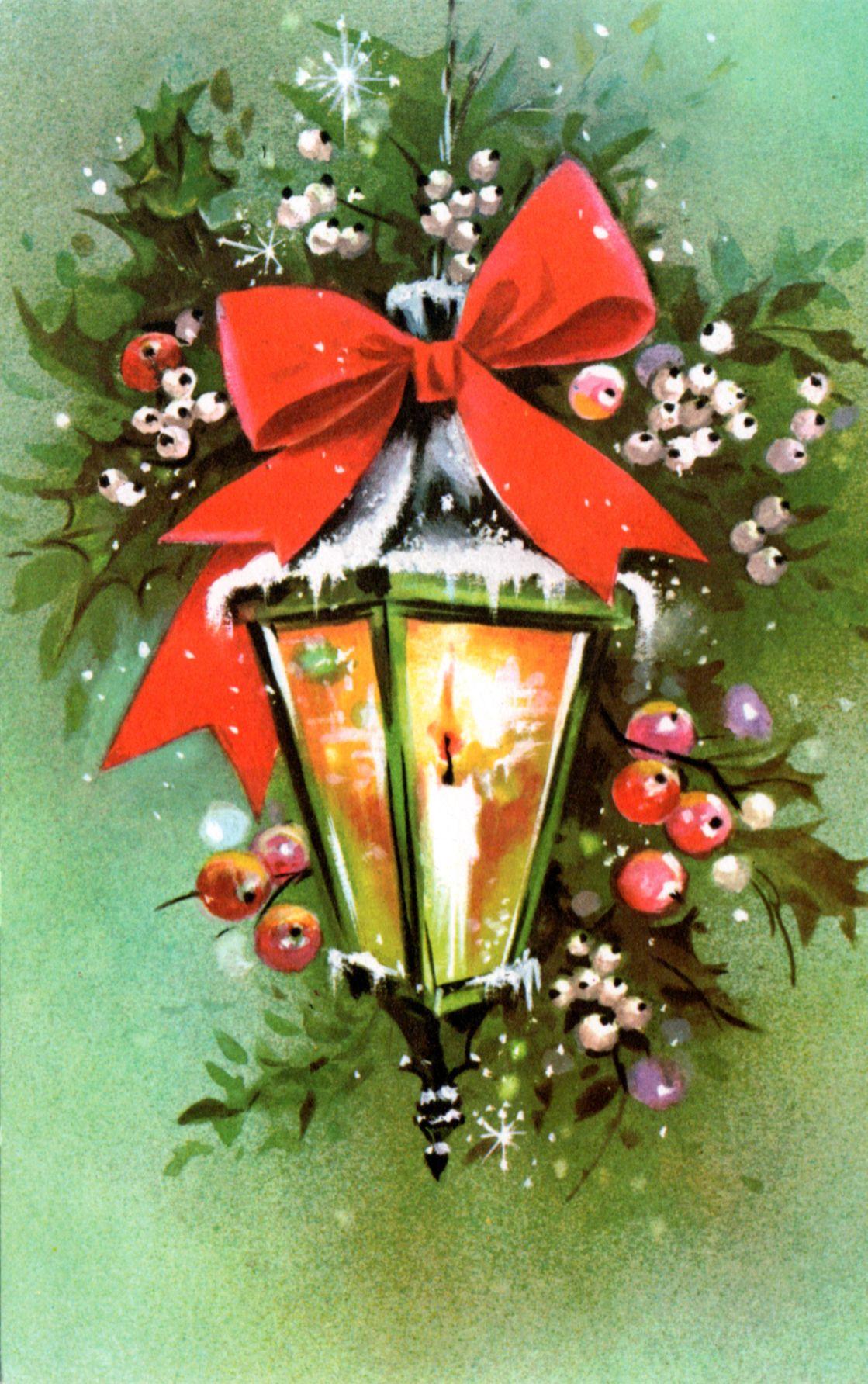 vintage 70 39 s christmas lantern card vintage and other. Black Bedroom Furniture Sets. Home Design Ideas