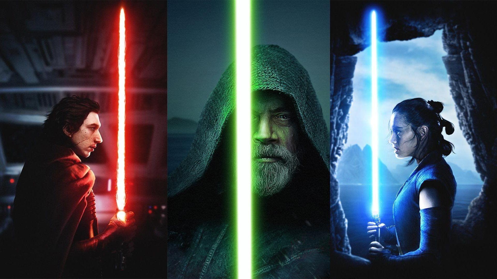 Star Wars Star Wars The Last Jedi Adam Driver Blue Lightsaber Daisy Ridley Girl Green Li In 2020 Star Wars Poster Star Wars Characters Star Wars Characters Wallpaper