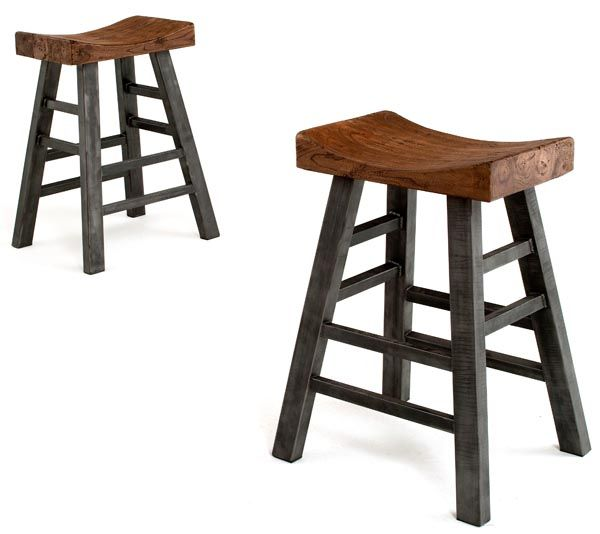 industrial bar stool pub style solid metal reclaimed wood
