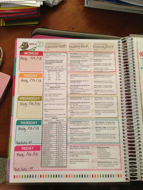 Erin Condren Teacher Planner Lesson Plan Template Organization