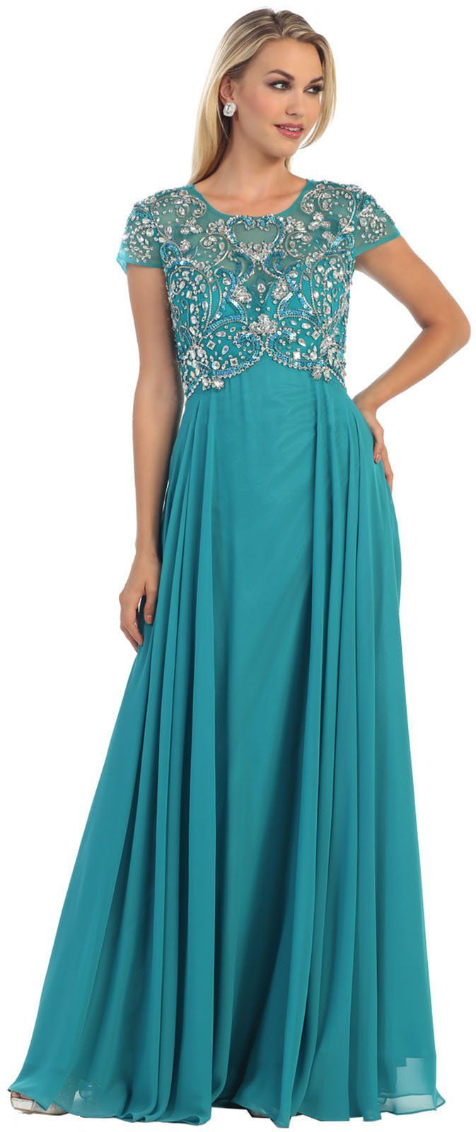 May Queen MQ1100 Formal Mother Of The Bride Evening Dress (L, Teal ...