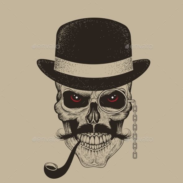 Vintage Hat Tattoos: Skull-Gentleman Dressed In Hat Smoking Cigar
