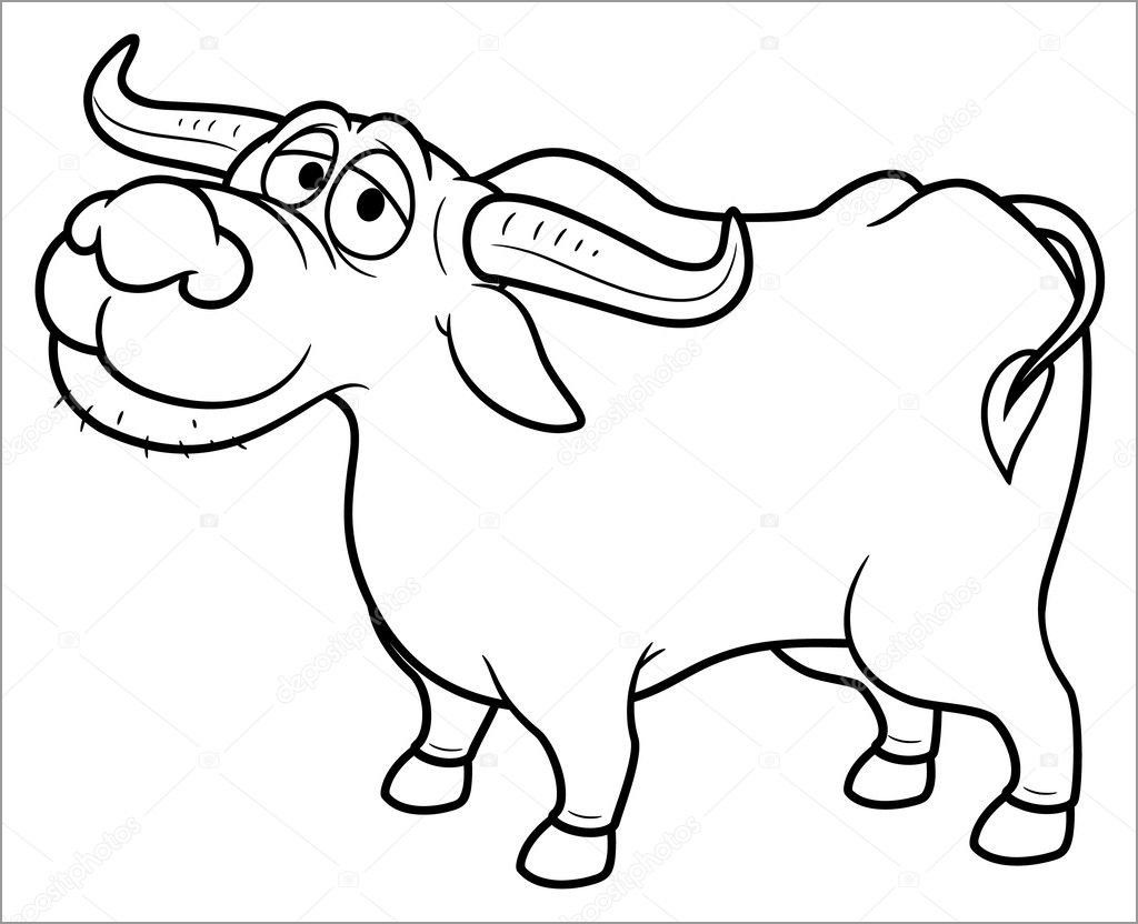 Cartoon Buffalo Coloring Page