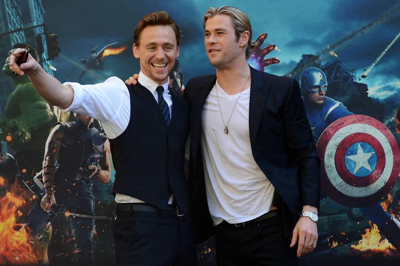 Screen bros: Tom Hiddleston (Loki) and Chris Hemsworth ...