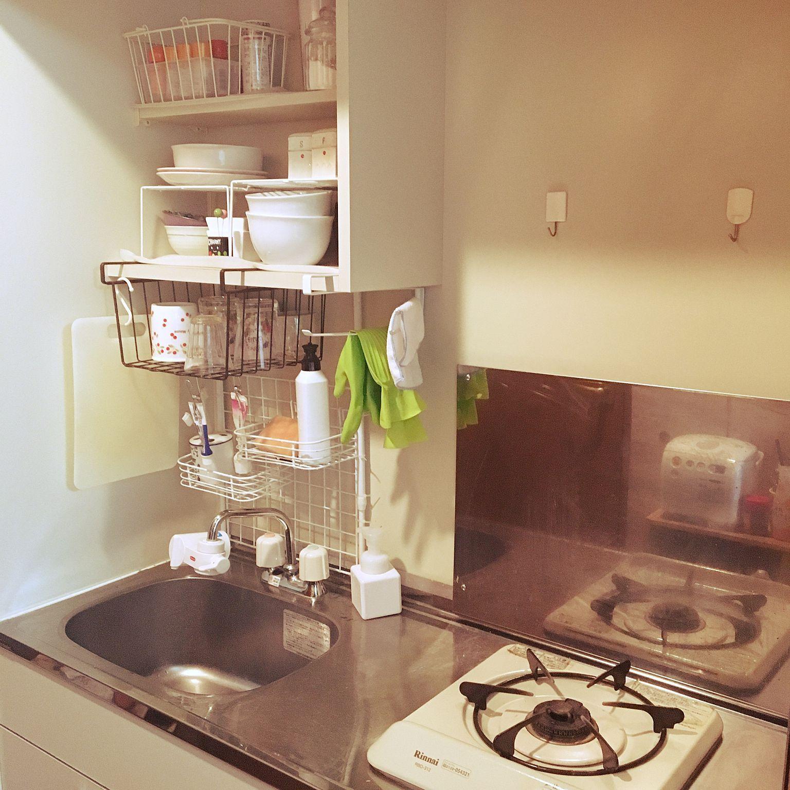 キッチン 1k 1k 1人暮らし 一人暮らし 白 などのインテリア実例 2016 10 19 12 17 58 Roomclip ルームクリップ 一人暮らし キッチン 狭い 収納 一人暮らし キッチン 狭い 狭いキッチン レイアウト
