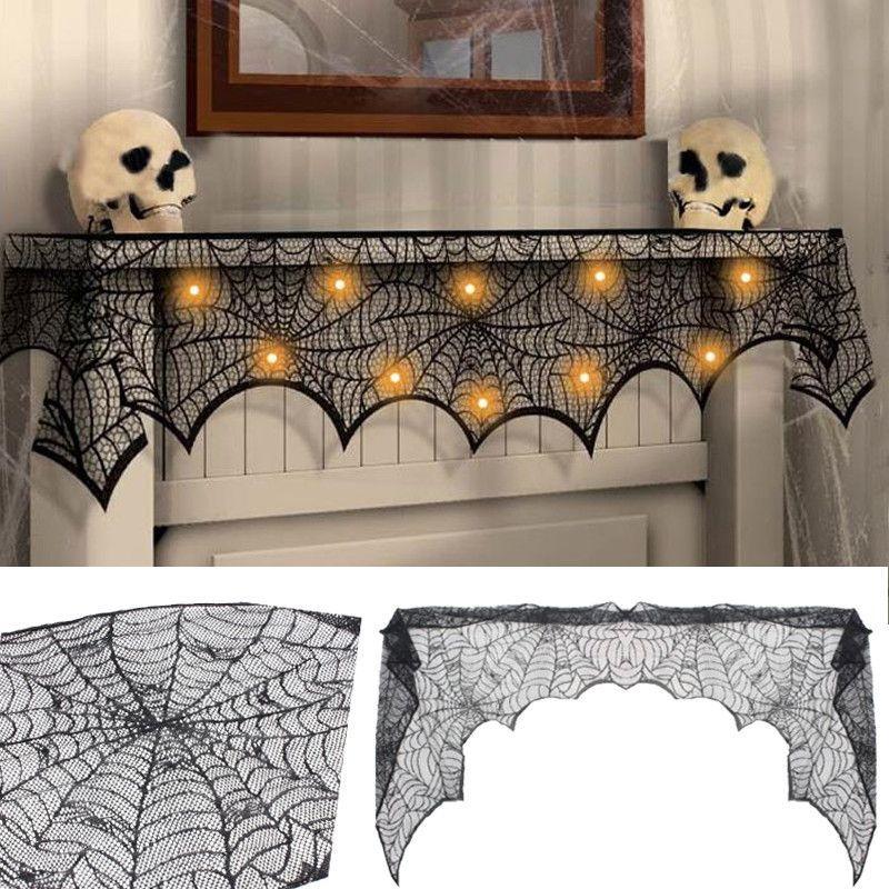 Halloween Party Mantel Door Window Decor Black Cobweb Lace Runner