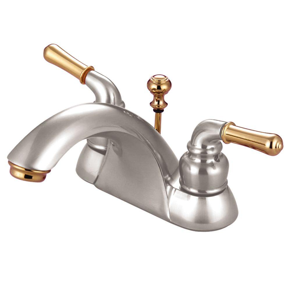Kingston Brass 4 In Centerset 2 Handle Bathroom Faucet In Satin Nickel And Polished Brass Satin Nickel Polished Brass Kingston Brass Sink Faucets Bathroom Sink Faucets
