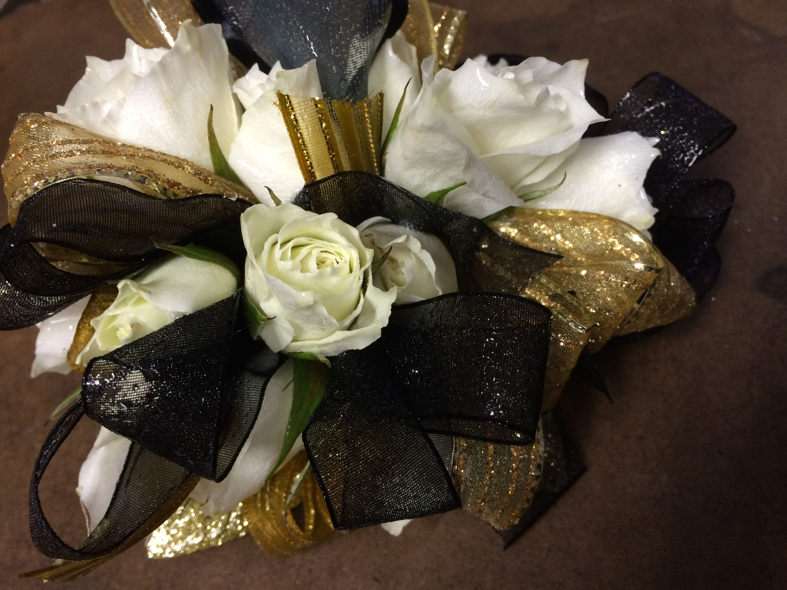 Black And Gold Spray Rose Wristlet By Crickets Flowers Lexington Ma