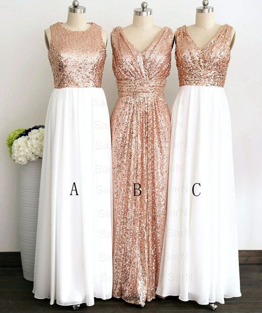 Hot Sale 3 Styles Rose Gold Bridesmaid Dresses Plus Size Hand Made ...