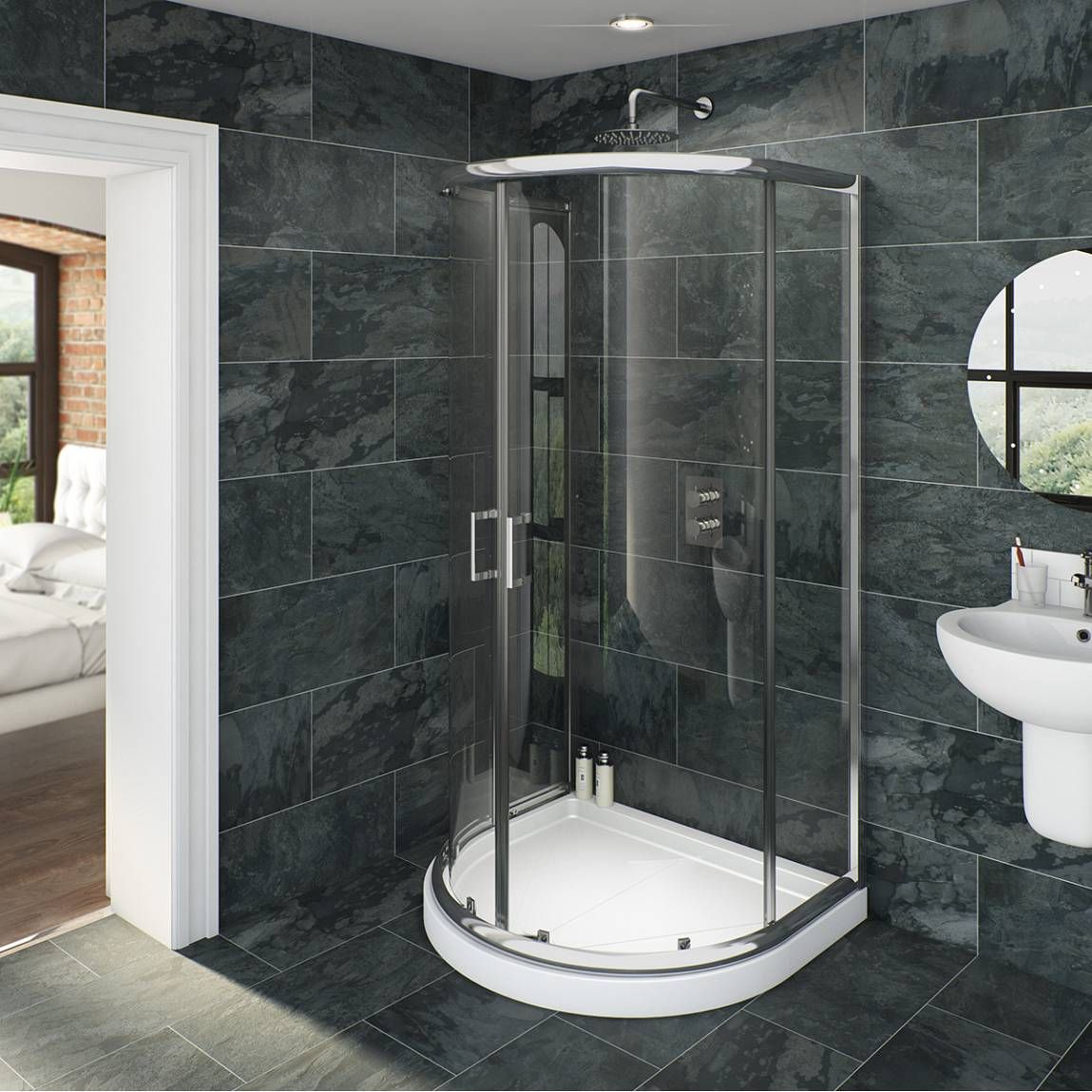 V6 D Shaped Shower Enclosure - Now £219.99. http://www.victoriaplumb ...