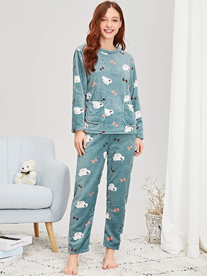9bd9d71c87 Shein Cartoon Print Plush Pajama Set #Print#Cartoon#Shein | Bedtime ...