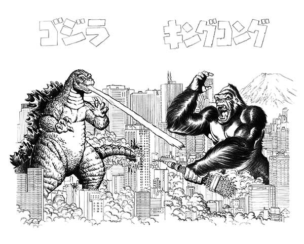 Godzilla Versus King Kong Coloring Pages PagesFull Size Image