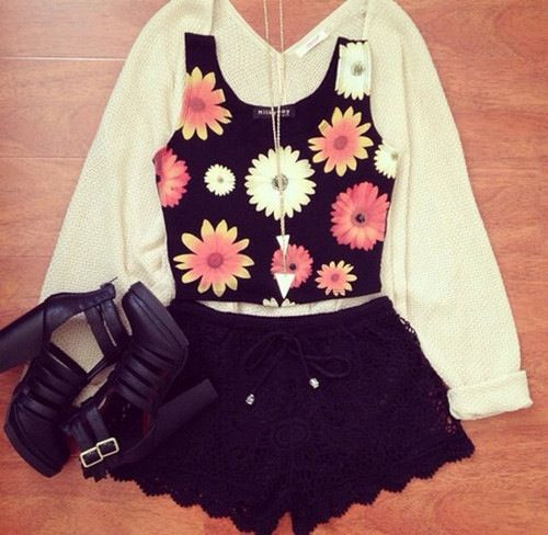 cute floral outfit