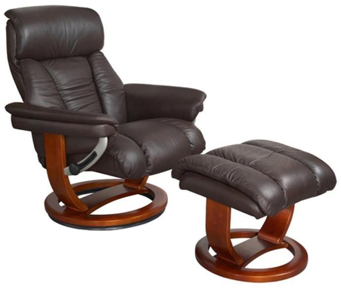 The Mars Swivel Recliner Chair Is Upholstered In Soft Belissimo Italian Leather A Rich Chocolate Finish It Comes With Matching Footstool And Has