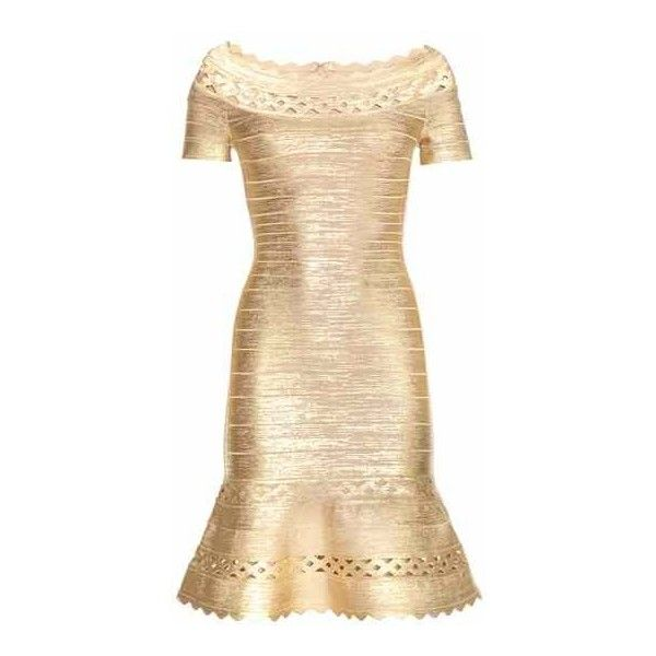 Hervé Léger Katherina Metallic Bandage Dress ($2,538) ❤ liked on Polyvore featuring dresses, herve leger dress, beige bandage dress, bandage dress, beige cocktail dress and metallic dress