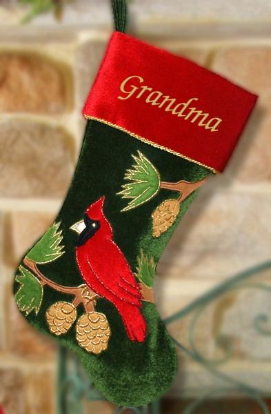 The BananaNana Shoppe - Personalized Christmas Stocking, Cardinal on Green Velvet, $32.95 (http://banananana.com/personalized-christmas-stocking-cardinal-on-green-velvet/)