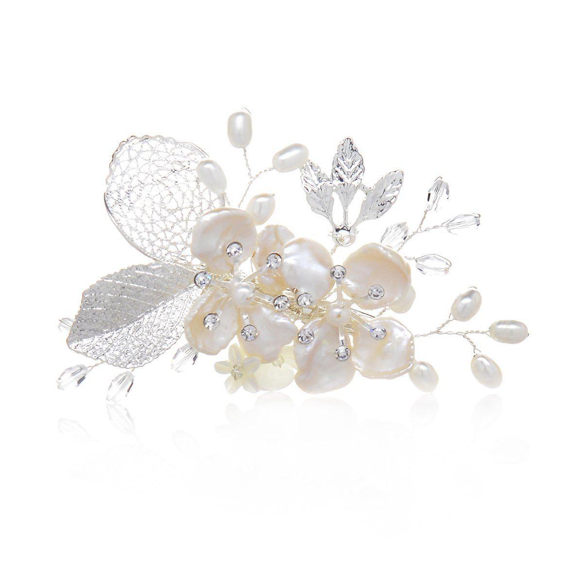 remedios shell flower gold leaf wedding hair clip pearl bridal