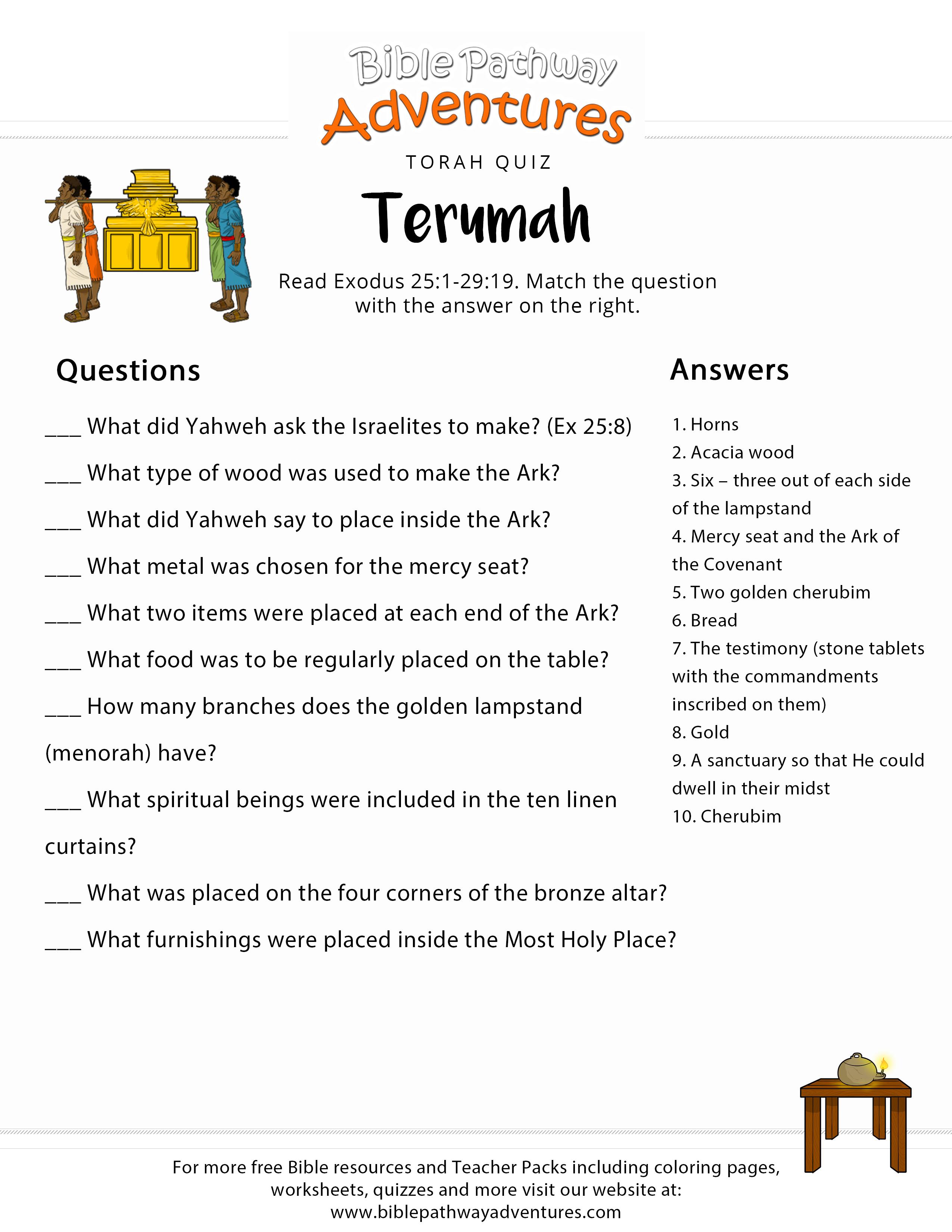 Torah Portion Quiz Terumah Exodus 25 1 29 19