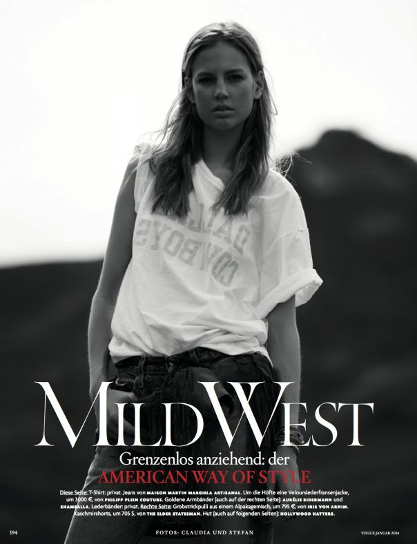 Mild West: #ElisabethErm by #ClaudiaKnoepfel & #StefanIndlekofer for #VogueGermany January 2014