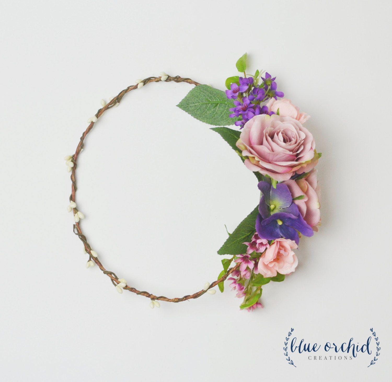 Silk Flower Crown Wedding Flower Crown Purple Flower Crown