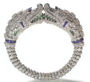 Cartier bracelet, 1929 platinum, diamonds, sapphires, emeralds, and rock crystal, with 2 dragon heads by ≈❤≈ @nyrockphotogirl