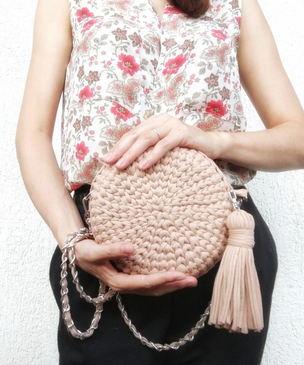 e9e5eeda7c0210b Круглая сумка из трикотажной пряжи цвета Мокко (бежевый, коричневый, кофе с  молоком)