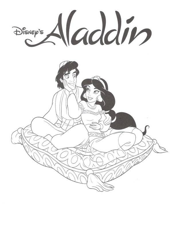 princess jasmine and aladdin disney coloring pages aladdin