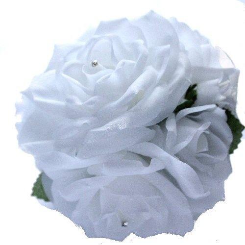 Flower Ball on Ribbon - White